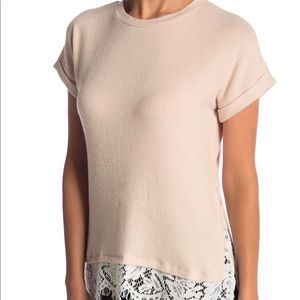 Bobeau Lacey cream t-shirt